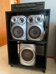 Conjunto de som (receiver e caixas) com móvel incluso (LEIA A DESCRIÇÃO)