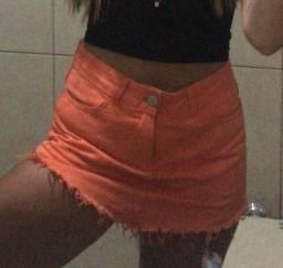 short saia laranja