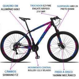 Bicicleta Aro 29 Dropp 21v Z3 Azul e Rosa Shimano Freio a Disco