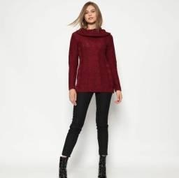Suéter de tricô Ponto Aguiar Vinho NOVO
