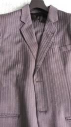 Terno cinza masculino listrado lã fria