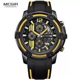 Relógio esportivo MEGIR (Silicone) Amarelo/Preto