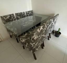 Título do anúncio: Mesa com tampo de vidro de 6 lugares