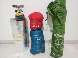 Kit Camping com barraca + saco de dormir + isolante térmico
