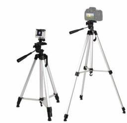 Tripé 1,35mt para câmeras, celulares com estojo e suporte para celular / NOVO