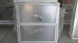 Janela e Bascula em Aluminio Branco completa