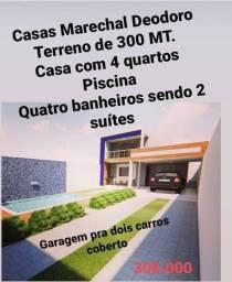 Casas com 04 dormitório - 146m2 de construção -R$ 300.000- 04 vagas de garagem