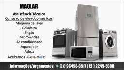 Conserto máquina de lavar, geladeira,fogão,micro-ondas,ar condicionado, aquecedor e adega