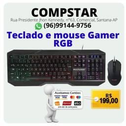 Teclado e mouse gamer RGB