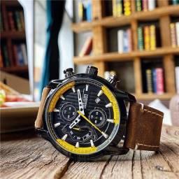 Relógio MEGIR (Todo Funcional) Couro