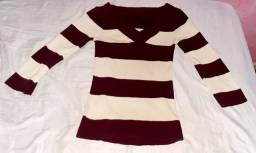 Suéter feminino meia manga e gola V