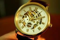 Relógio Gold Skeleton Mecânico Couro 42mm Pronta Entrega 12x
