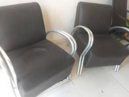 Cadeiras alumínio de couro