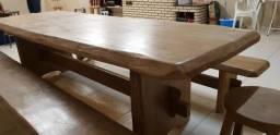 Mesa Banco cadeiras de madeira maciça
