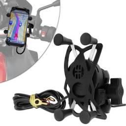 Suporte de celular para moto USB