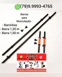 Barras de tamanhos variados para Musculação ( Produtos Novos )