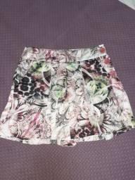 Short saia estampado de cetim