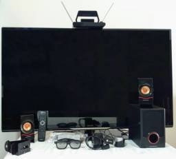 TV 50 3D mais EZCast e cx de som subwoofer e antena digital