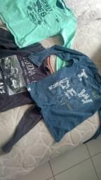 Camisetas manga comprida em malha Tam 10e 12