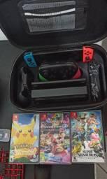 Nintendo Switch + Pro Controler + 3 jogos físicos + SD + Case deluxe