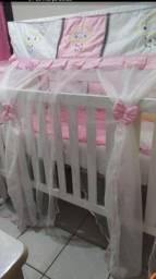 Vende se kit berço tema nuvem rosa bebê