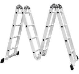 Escada Articulada Em Alumínio 4x4 16 Degraus 120kg