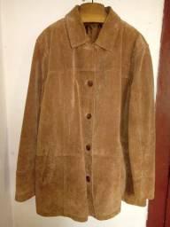 Casaco de couro camurça marrom Echter Leder original importado, sem nenhum defeito