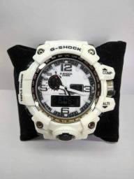 Relógio Masculino Gshoock Branco prova dágua+ caixa de brinde
