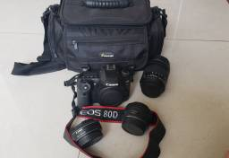 Camera Canon 80D + 3 Lentes Canon (quase sem uso)