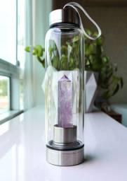 Garrafa Energizante Garrafa de Vidro com Pedra Ametista Elixir da Vida