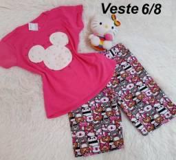 Conjuntos infantis tam 6-/8 - Com camiseta e bermuda - R$34,99 cada conjunto