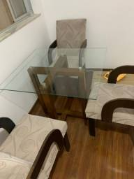 Mesa de vidro+  4 cadeiras
