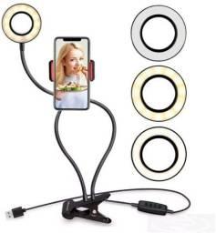 Anel de Luz Articulado com Suporte para Celular, com Controle Controle ( fazemos entrega).