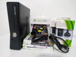 Xbox 360 bloqueado 250gb com todos os acessórios.
