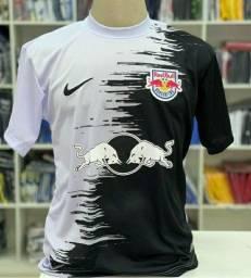 Camisa de Time do Red Bull Preta e Branca