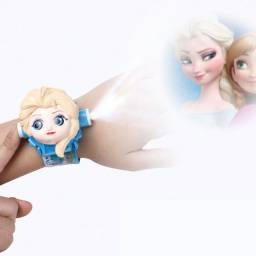 Relógio Projetor 3D Digital Personagens Infantis