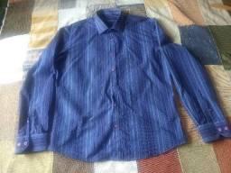 camisa esporte fino azul listrada