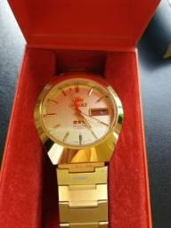 Relógio Masculino Automáico Orient Banhado Ouro 469906-GE