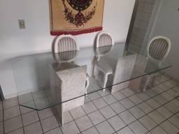 Mesa de vidro com base em mármore + 6 cadeiras
