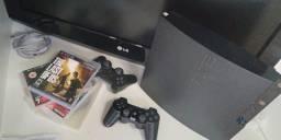 Playstation 3 com 2 controles e jogos