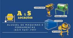 Alugamos betoneira, conteiner e outros equipamento