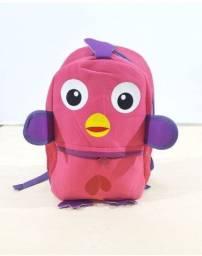 Mochila infantil passarinho rosa neoprene escolar