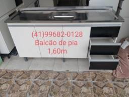 Balcão de pia 1,60m com tampo de inox/NOVO
