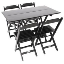 Mesa dobrável retangular com 4 cadeiras 1,20 x 70 para bar e restaurante