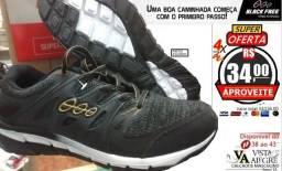Tênis Running Black Free - Caminhada TOP!