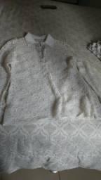 Blusa branca de renda g 50