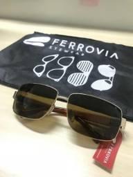 Óculos de sol Ferrovia em metal dourado - Mix Met - Masculino - Original e Novo