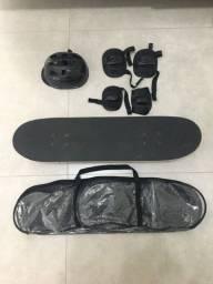 Skate + Capacete + Protetores + Bolsa