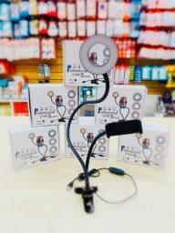 RING LIGHT LUZ LED COM SUPORTE PARA CELULAR ARTICULADO PRESILHA<br><br>