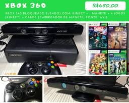 XBOX 360 - 4GBs + 4 jogos + kinect + Cabos (Originais) + 1 Controle